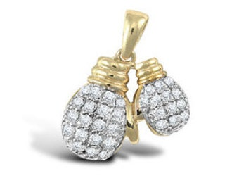 9ct Yellow Gold Cubic Zirconia Boxing Gloves Pendant