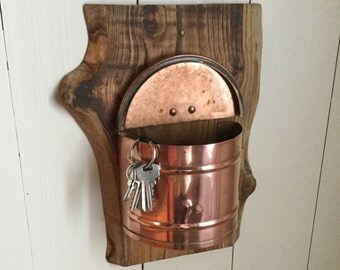 French copper matchstick storage box / bin / container mounted on a piece of waney edged solid oak