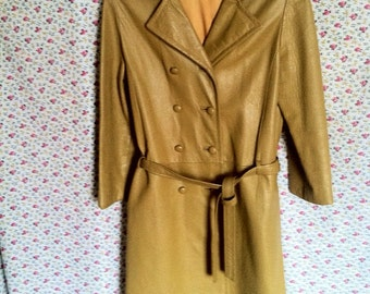 Coat leather yellow years 70 Super beautiful piece M/L