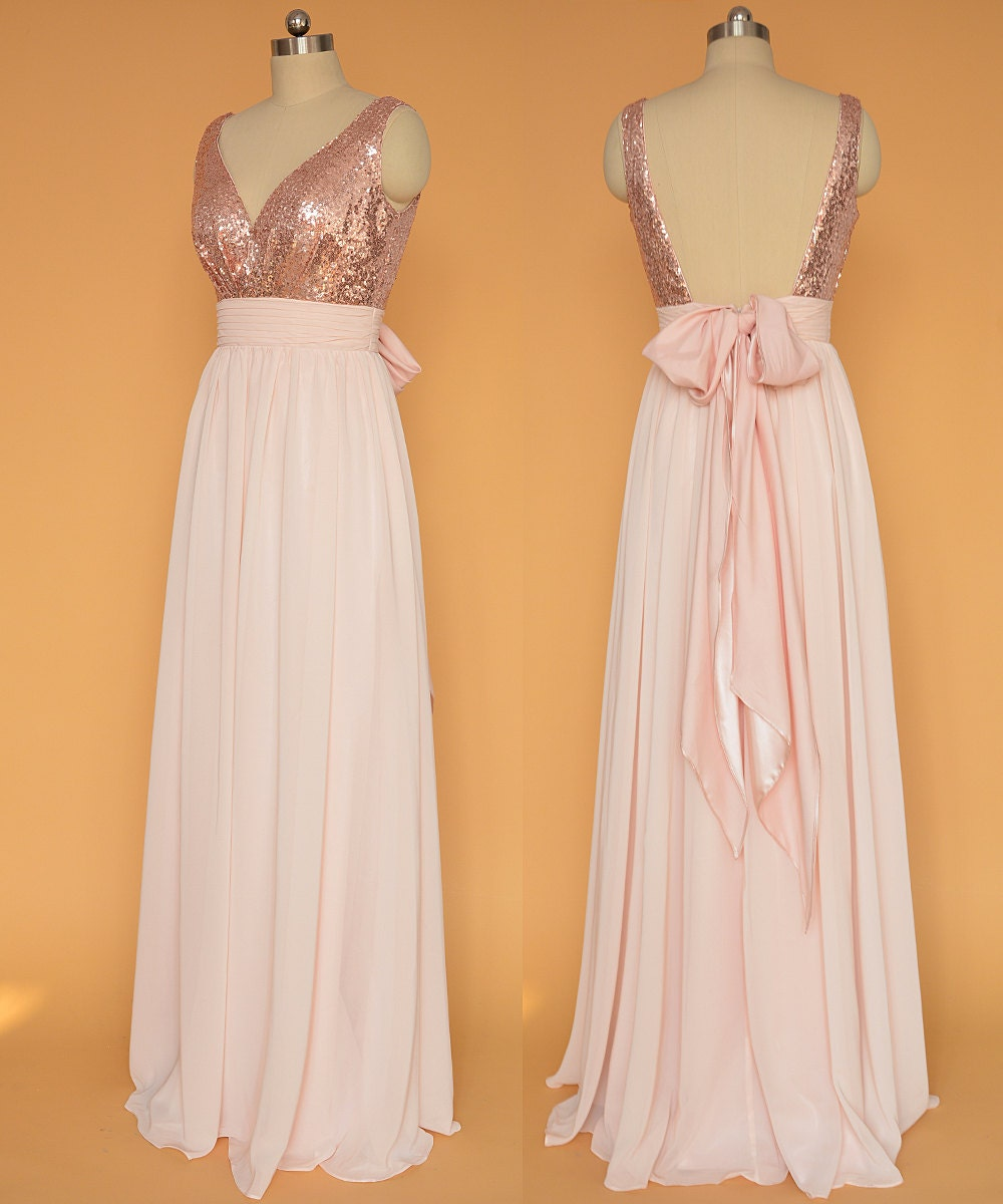 Sequin prom dresses rose gold open back prom by for Pink gold wedding dress
