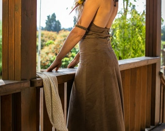 Brown Gypsy Maxi Dress, Gypsy Clothing , Suede ,Goddess Dress , Bohemian Tribal Dress , Tribal Clothing