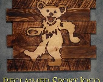 Grateful Dead, FREE UV protector, 30X23, Burnt wall hanging, Shou Sugi Ban, Charred wood, Man cave, Rustic, Pallet wood, Wood Sports sign