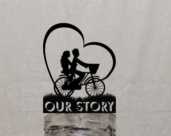 Bicycle Couple with Heart Shaped Sun Wedding Cake Topper Personalized with your Name or Phrase