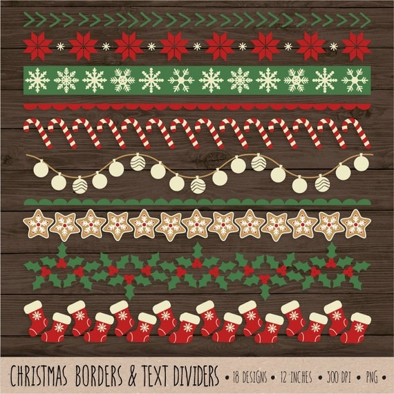 SALE. Christmas Border Clip Art. Red and Green Digital Ribbon
