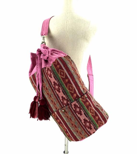 Pink Aztec Barrel Bag, Hippie Crossbody Purse bag, Southwestern drawstring Bag, Women's Sport gym bag, Native Inspired, Boho Bag