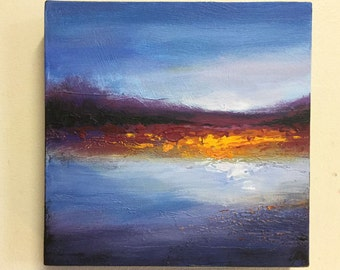Abstract Landscape Textured Acrylic Painting, 8x8 Box Canvas Jane Palmer  Art