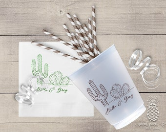 Personalized Wedding Napkins or Printed Cups - Cactus Weddings, Parties, Family Reunions, Graduation, Birthdays, Anniversary