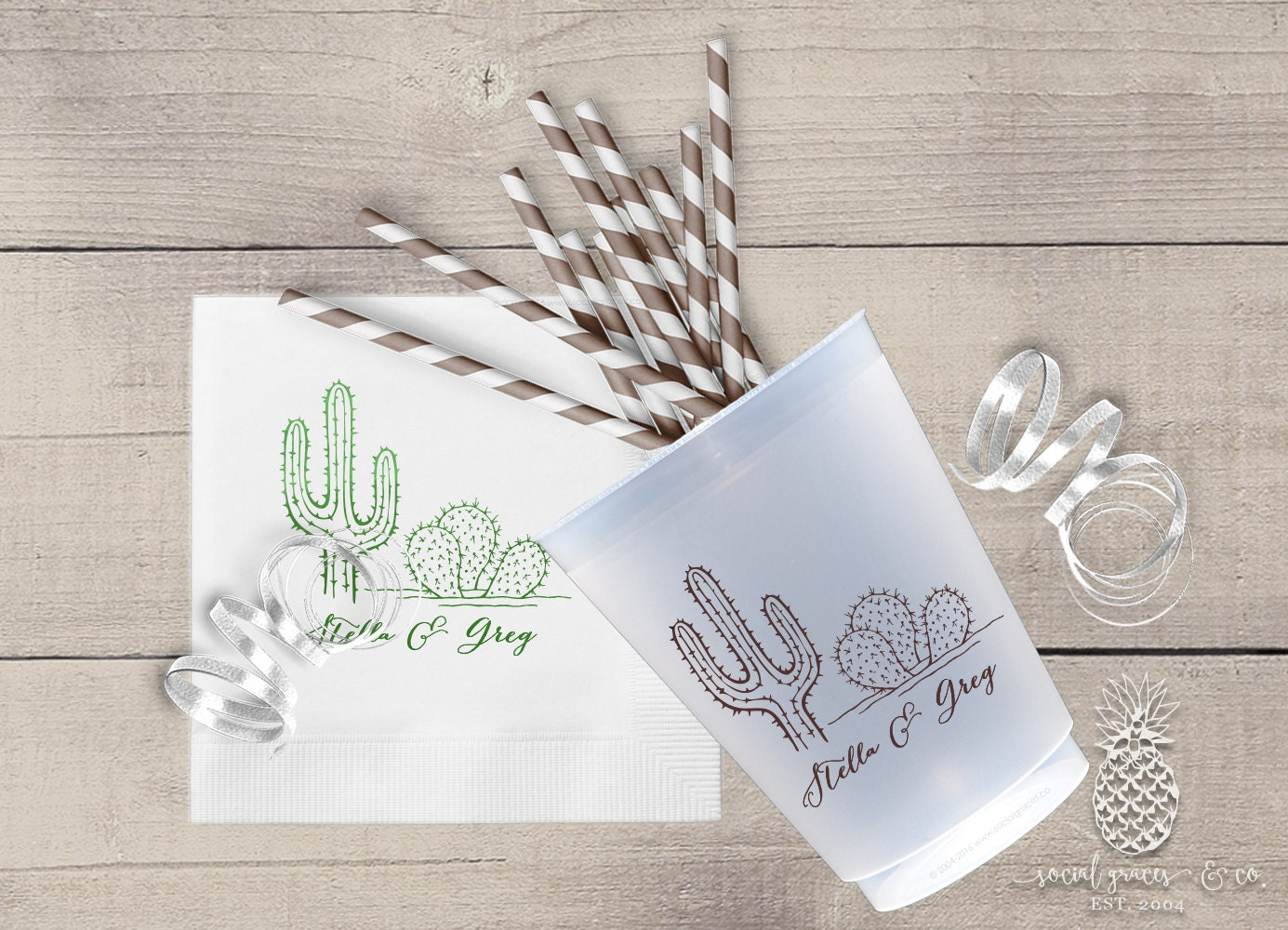 Personalized wedding napkins or printed cups cactus for Printed wedding napkins