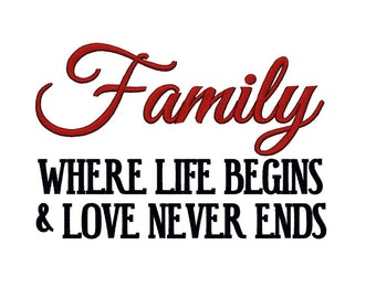 Family where Life begins and Love never ends 1. Instant Download Machine Embroidery Design. 4x4 5x7 6x10