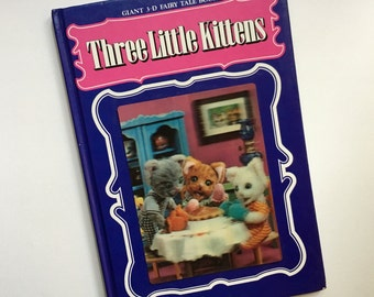 Three Little Kittens: Giant 3-D Fairy Tale Books by Rose Art Studios, Japan ~ Hologram on Cover, Japanese Puppets/Dolls, Cats in Clothes