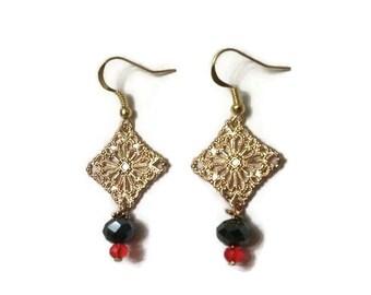 Small Gold Earrings, Gold Dangle Earrings, Small Dangle Earrings, Gold Vintage Earrings, Antique Earrings, Minimalist Earrings, Earrings
