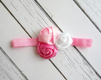 3-9 Month Size Pink and White Rosette Headband