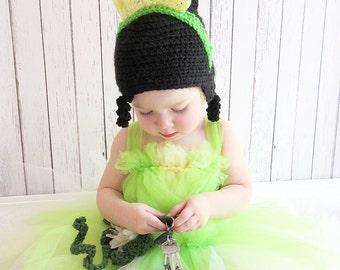 Princess Tiana Crochet Hat, Princess and the Frog Crochet Hat, Tiana Costume