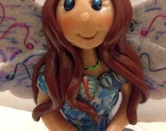 Polymer Clay Fairy, Figurine, Fairy, Faery,Magic, Ornament, Believe, Handmade, OOAK, Gift For Girl, Cake Topper,Myth, Gift For Fairy Lover