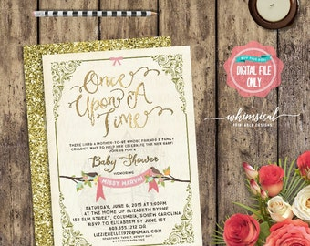 "Baby Shower Invitation ""Once Upon A Time"" (Printable File Only) Fairytale Fairy Tale Storybook Castle Elegant Fun Faux-Gold Metallic Regal"