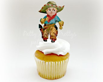 Cowboy Cupcake Toppers, Vintage Cowboy Topper, 12 Ct.