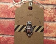 Retro Microphone Lapel Pin / Tie Tack - Antique Silver Tone