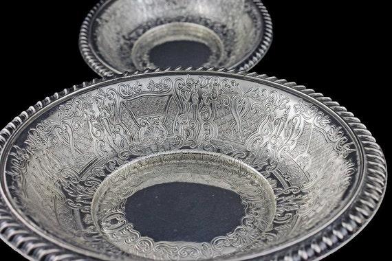 Antique Silver Plate Bowls, Bon Bon Bowls, Hawksworth Eyre & Co., Capital, EPNS, England, Hollowware, Gadroon, Scrolls, Ornate Plated Silver