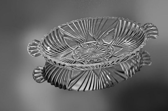 Oval Handled Relish Tray, Oblong Clear Pressed Glass