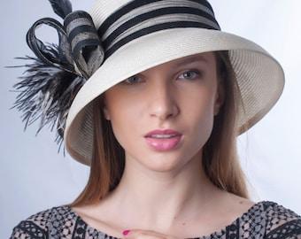 Ivory black hat, widebrim hat, Summer sun hat, Kentucky derby hat, Wedding Party hat, Royal Ascot hat, Audrey Hepburn hat, elegant hat