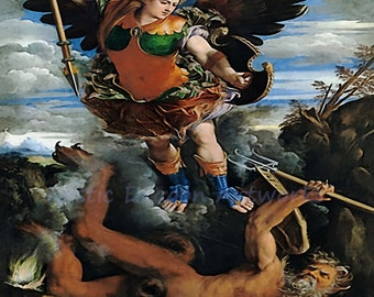 "Dosso Dossi ""Archangel Michael Victorious"" c1600 Reproduction Digital Print Archangel Spirituality Religion Christianity"