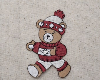Bear - Beanie and Sweater - Iron On Applique - Embroidered Patch - AP511921