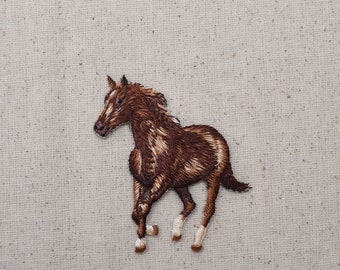 Horse - Running Left - Brown - Embroidered Patch - Iron On Applique - 1516647A