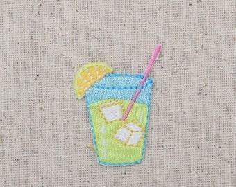 Lemonade Glass - Wedge Slice - Fruit Drink - Iron on Applique - Embroidered Patch - AP-511718