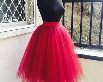Tulle Skirt Tutu Red Adult Midi