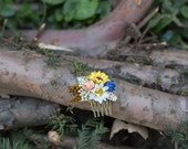 Mini Hair comb floral white blue gold yellow flowers wedding comb bridal hair fashion accessories barn wedding woodland style