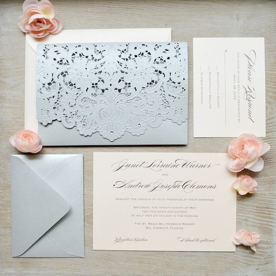 JANET - Blush and Silver Laser Cut Wedding Invitation - Silver Shimmer Laser Cut Envelope with Blush card - Swarovski Crystal Embellishments