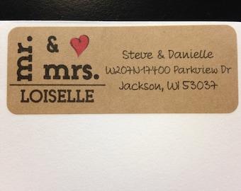 30 Mr & Mrs Kraft Return Address Labels, Newly-Wed Address Labels, Brown Address Labels, Personalized Kraft Address Labels, Couples Address
