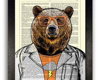 Hipster Scientist Bear Art Print Wall Decor Poster, Funny Gift for Men Boys, Grizzly Bear Drawing, Bear in Glasses, Gift for Boyfriend Print