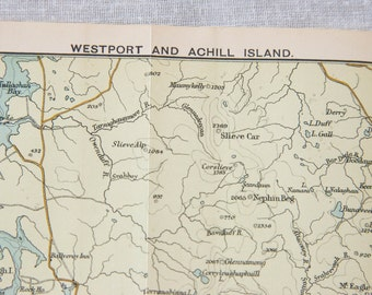 1902 Westport Ireland & Achill Island Antique Map