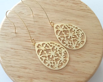 Large Gold Plated Earrings with 14K Gold Filled earwires, Long hook, Funky earrings, Flower pattern,  Gold earrings, thehappylittlebeader
