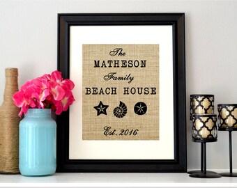 Burlap Beach House Sign
