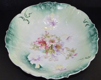 RS Prussia Bowl Teal Rim Mold 32 HI 4, German Porcelain Art Nouveau Antique Prussia Floral Pattern