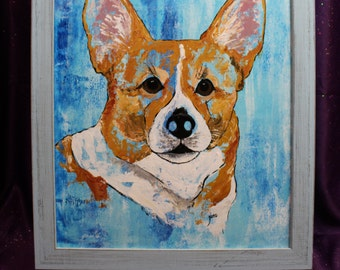 Pembroke Welsh Corgi Abstract Painting, Cardigan Welsh Corgi Original Framed Wall Art, Blue Corgi, Blue Dog Abstract