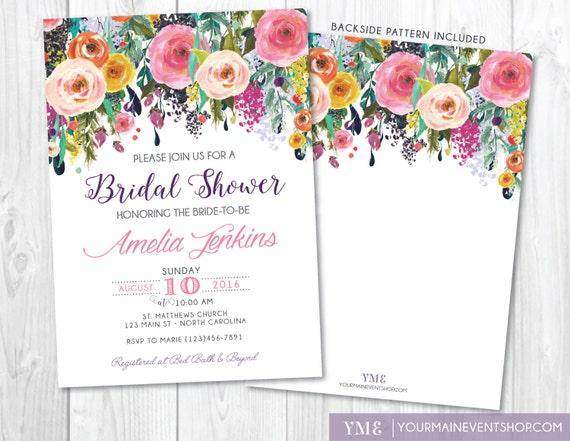 Bridal Shower Invitation • Whimsical Bridal Shower Floral Invite • Floral Invitation • Spring Summer Watercolor Flower Printable