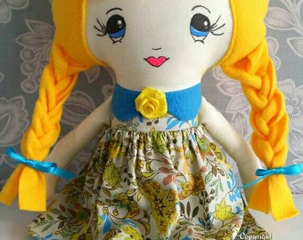 Ready to Ship*** Handmade Blue & Yellow Cloth Rag Doll -Blonde Hair, Plaits, Blue Eyes, 19 inches tall-Bridesmaid Gift, Birthday, Christmas
