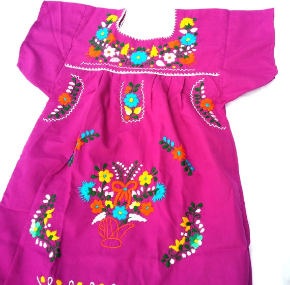 Handmade mexican embroidered peacock baby dress size years
