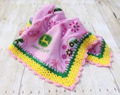 Pink John Deere Fleece Blanket, Crochet Fleece Blanket, Pink Fleece Blanket, John Deere Blanket, Pink Fleece Throw, Crochet Edging Blanket