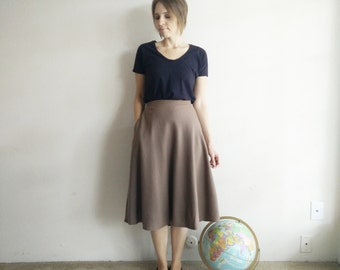 Vintage 1970s Brown Wool Circle Skirt/X-Large