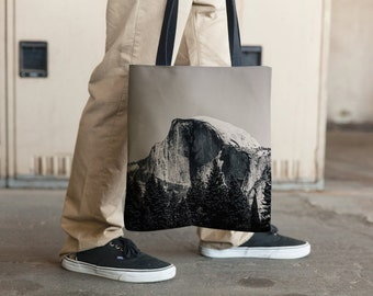 Half Dome Yosemite Black and White, Tote Bag, Grocery Tote Bag, Book Tote Bag