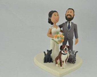 Sweet couple. Hands around their backs. Custom wedding cake topper. Wedding figurine. Handmade. Fully customizable. Unique keepsake