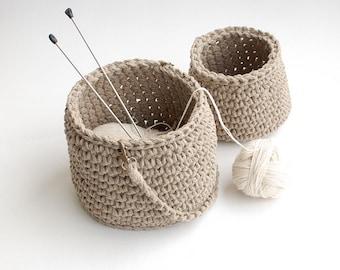 Crochet basket linen rope bag - Natural linen flax gray storage basket - Linen project bag