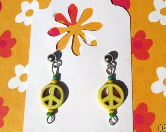 Small Peace sign earrings-peace sign jewelry-blue-Red-yellow-Clip on earrings-girls earrings-tween jewelry-peace sign post-howlite stone