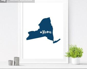 Custom State Print, Wall Art Printable, Custom Printable, Custom State Printable, New York, State Print, Housewarming Gift, State Art