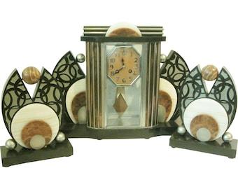 French Art Deco Clock Three Piece Garniture Set