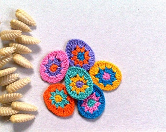 Set 6 Easter egg Crochet small appliques Decorative motif Easter decor Easter spring decor Colorful eggs